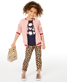 Epic Threads Toddler Girls Reversible Bomber Jacket, Hearts-Print T-Shirt & Leopard-Print Jeans, Created for Macy's