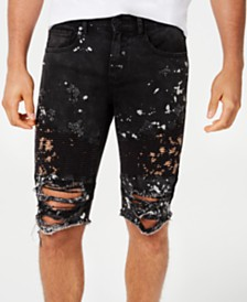 Reason Men's Splattered Ripped Denim Shorts