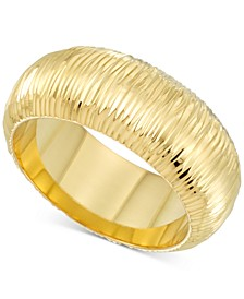 Diamond Accent Textured Ring in 14k Gold Over Resin, Created for Macy's