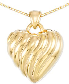 "Signature Gold Diamond Accent Heart 18"" Pendant Necklace in 14k Gold Over Resin, Created for Macy's"