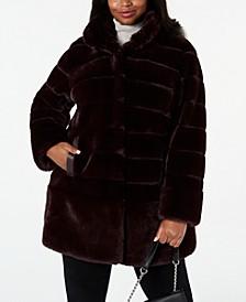Plus Size Faux-Fur Coat with Faux-Leather-Trim