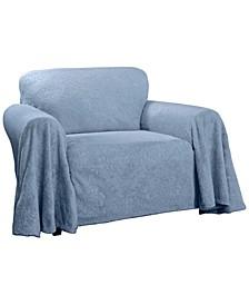 Plush Damask Throw Chair Slipcover