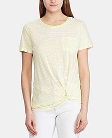 Stripe-Print Twist-Knot T-Shirt