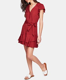 1.STATE Button-Front Asymmetrical Dress
