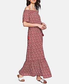 1.STATE Floral-Print Off-The-Shoulder Maxi Dress