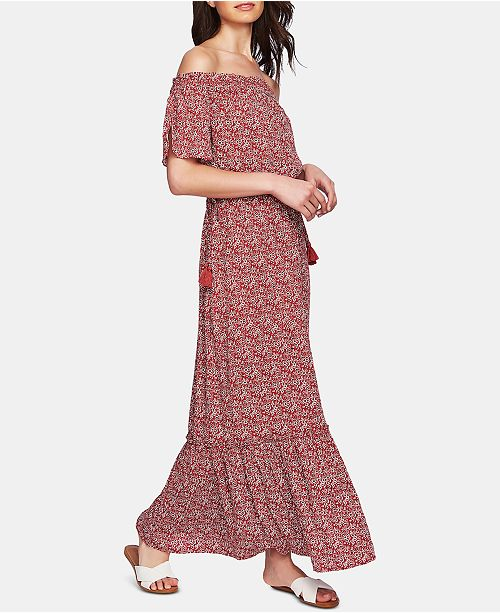 1.STATE Floral-Print Off-The-Shoulder Maxi Dress