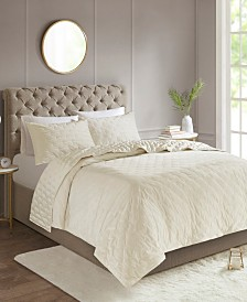 Madison Park Leah 3-Pc. Tufted Faux Velvet Reverse to Charmeuse Coverlet Sets
