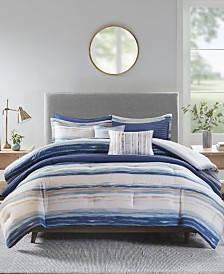 Madison Park Marina Full/Queen 8 Piece Printed Seersucker Comforter and Coverlet Set Collection