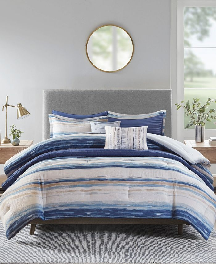 Madison Park - Marina 8-Pc. Printed Seersucker Comforter and Coverlet Set Collection