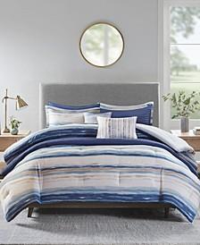 Marina King/California King 8 Piece Printed Seersucker Comforter Set