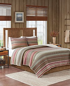Woolrich Willard 3-Pc. Oversized Stripe Print Cotton Reversible Quilt Sets