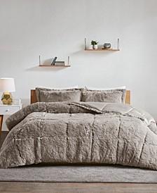 Malea Full/Queen 3-Pc. Shaggy Faux Fur Comforter Set
