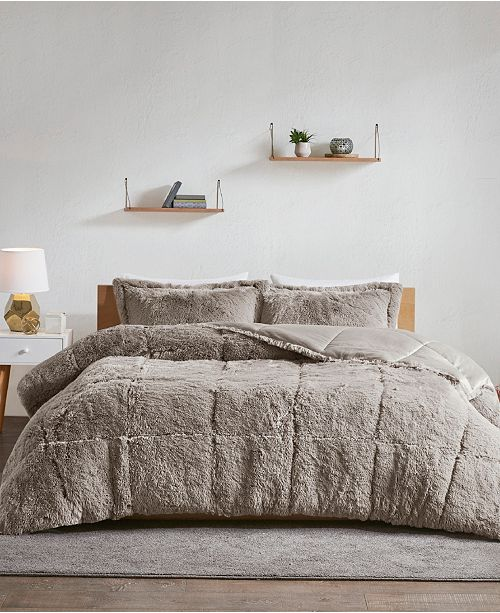 Intelligent Design Malea Full/Queen 3-Pc. Shaggy Faux Fur Comforter Set