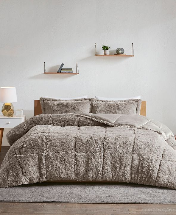 Intelligent Design Malea King/California King 3-Pc. Shaggy Faux Fur Comforter Set