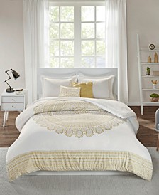 Nomad Full/Queen 5 Piece Metallic Medallion Printed Duvet Cover Set