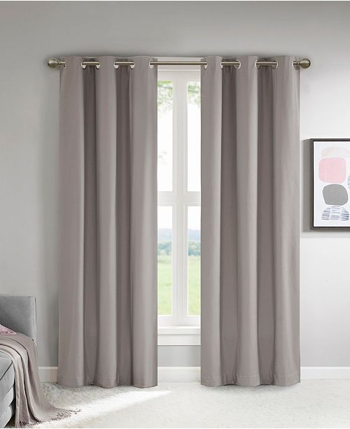 "510 Design Lisa 37"" x 84"" Solid Theater Grade Total Blackout Curtain Pair"