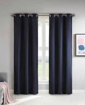 """Image of 37""""x84"""" Zara Solid Theater Grade Blackout Curtain Pair Navy (Blue)"""