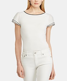 Lauren Ralph Lauren Stripe-Trim Flutter-Sleeve Top