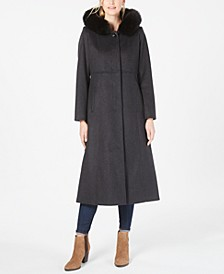 Fox-Fur-Trim Hooded Maxi Coat