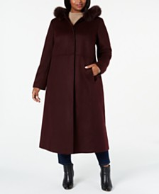 Forecaster Plus Size Fox-Fur-Trim Hooded Maxi Coat, Created For Macy's