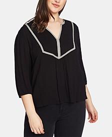 Plus Size Embroidered Split-Neck Blouse