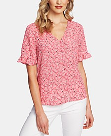 Sakura Delight Ruffled-Sleeve V-Neck Top