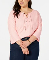 ab4a205c7 Tommy Hilfiger Plus Size Cotton Lace-Up Top