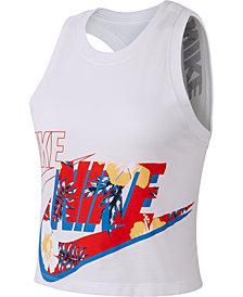 Nike Sportswear Printed-Logo Cropped Tank Top