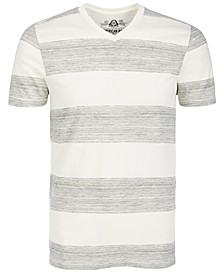 Men's V-Neck Heathered Striped T-Shirt, Created for Macy's