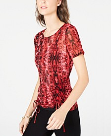 INC Ruched Tie Snake Print Top, Created for Macy's