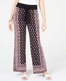 I.N.C. Petite Printed Tie-Waist Pants, Created for Macy's
