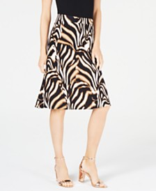 I.N.C. Animal-Print Trumpet Skirt, Created for Macy's