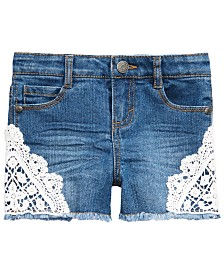 Epic Threads Toddler Girls Crochet Lace Denim Shorts, Created for Macy's