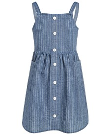 Epic Threads Big Girls Striped Denim Cotton Dress, Created for Macy's