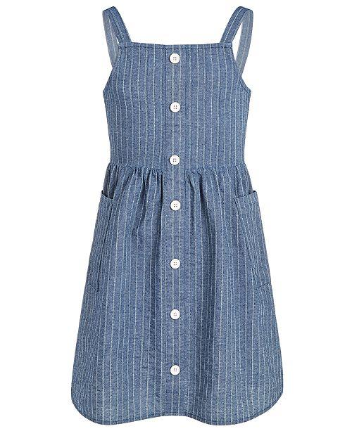 Epic Threads Big Girls Striped Denim Cotton Dress, Created for Macy's