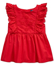 Polo Ralph Lauren Toddler Girls Ruffled Eyelet Cotton Top