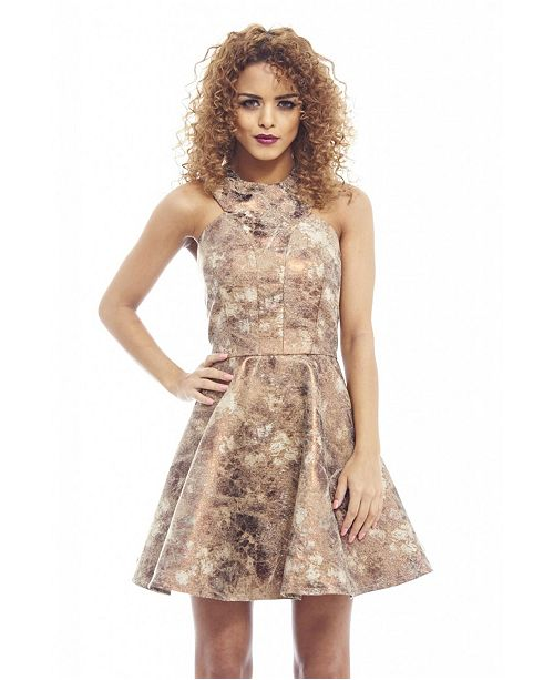 AX Paris Jacquard Metallic Kick Out Skater Dress
