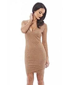 AX Paris V Front Lace Bodycon Dress