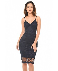 AX Paris Crochet Midi Dress with Spaghetti Straps