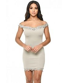 Bardot Mini Dress with Lace Detail