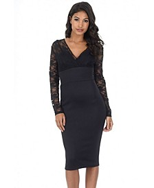 Bodycon Dress with Lace Top