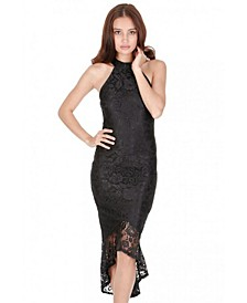 Racer Neck Lace Fish Tail Dress