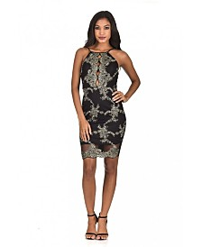 AX Paris and Gold Embroidered High Neck Bodycon Dress
