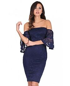 AX Paris Lace Frill Sleeve Midi Dress