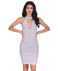 AX Paris V Neck Choker Neck Ruched Dress