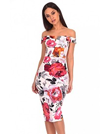 AX Paris Notch Front Off the Shoulder Floral Midi Dress