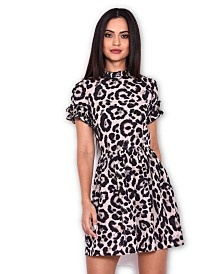 AX Paris Animal Print Frill Detail Skater Dress