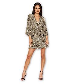 AX Paris Animal Print Asymmetrical Sleeve Dress