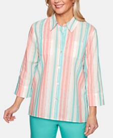 Alfred Dunner Petite Coastal Drive Cotton Striped Shirt