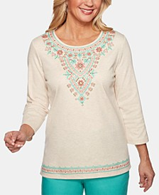 Coastal Drive Embroidered Studded Top